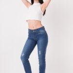 1257 Pantalon juvenil recto con roturas y bolsillos - azul - 36