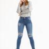 1297 Pantalón chupín con roturas - azul-blanco - 38