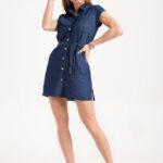 6100 Vestido con Lazo - Megan - azul - 36