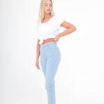 1006 Pantalón Slim Flare - celeste - 36